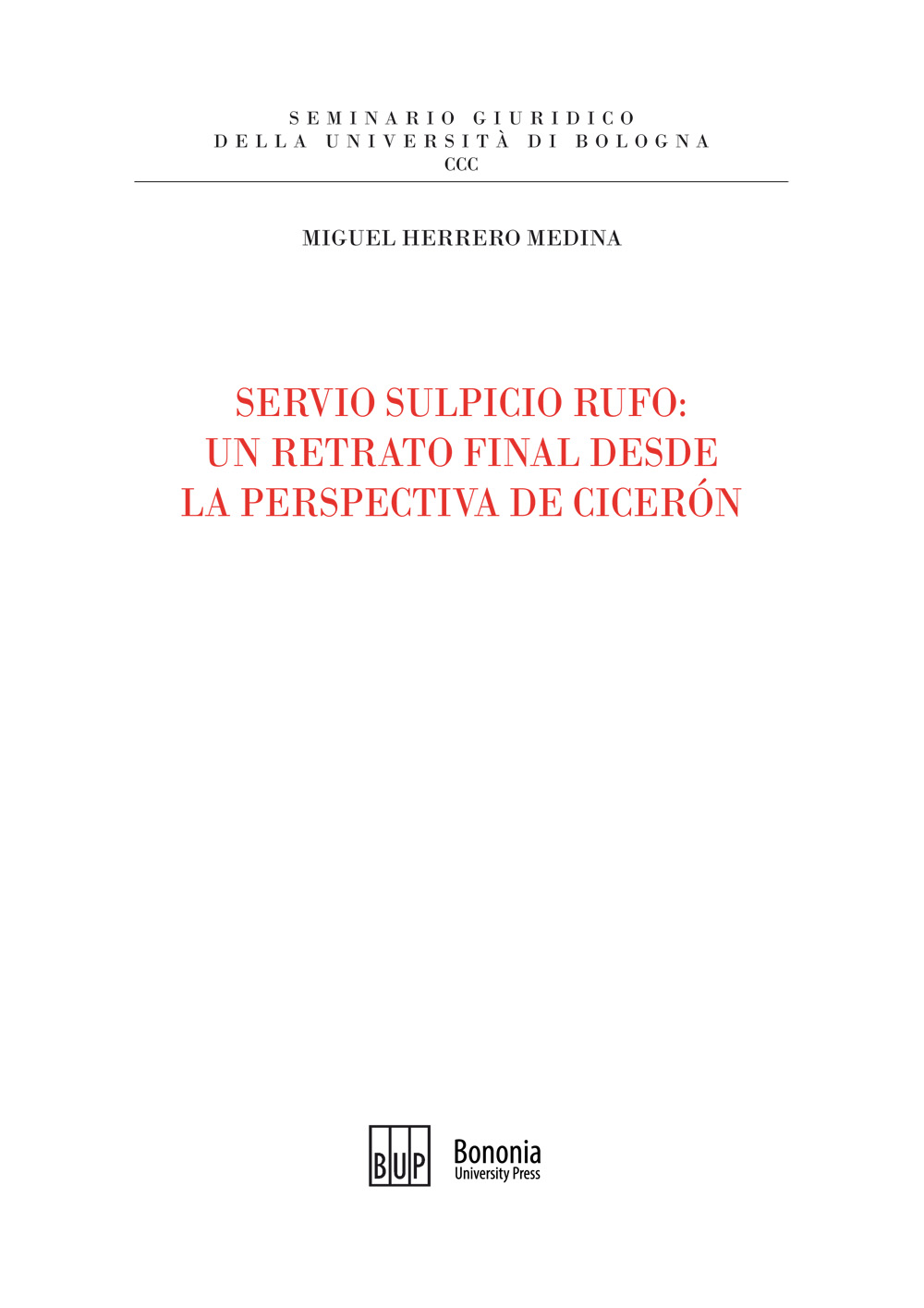 Servio Sulpicio Rufo - Bononia University Press