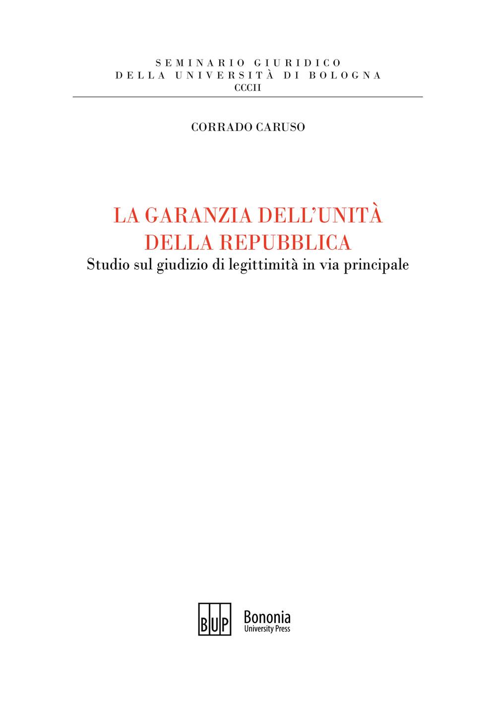 La garanzia dell'unità della Repubblica - Bononia University Press