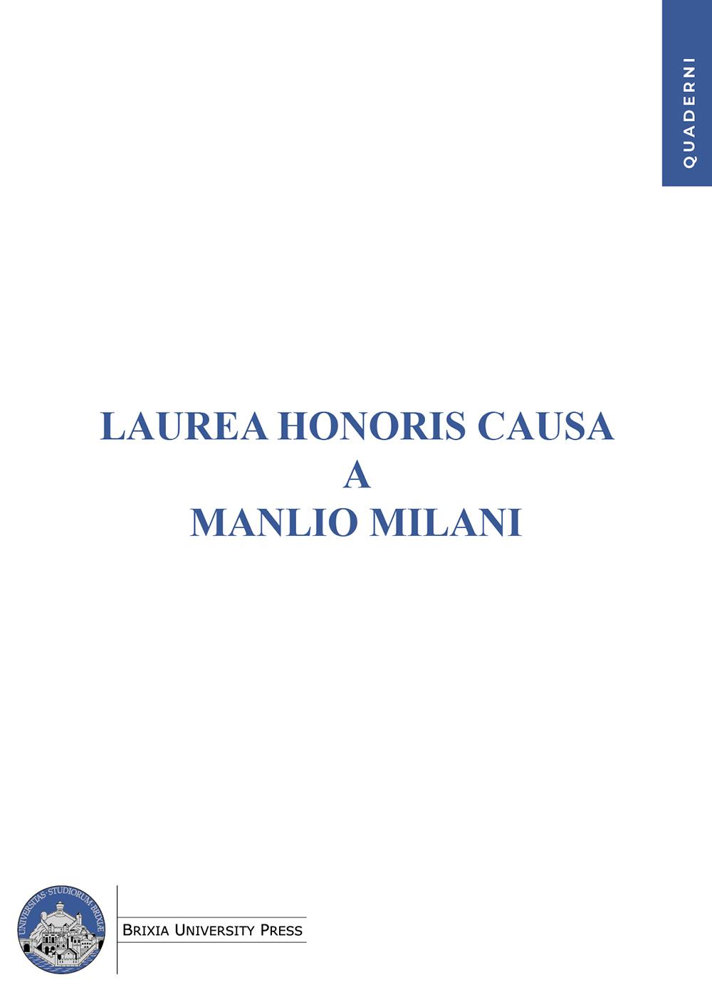 Laurea Honoris Causa a Manlio Milani - Bononia University Press
