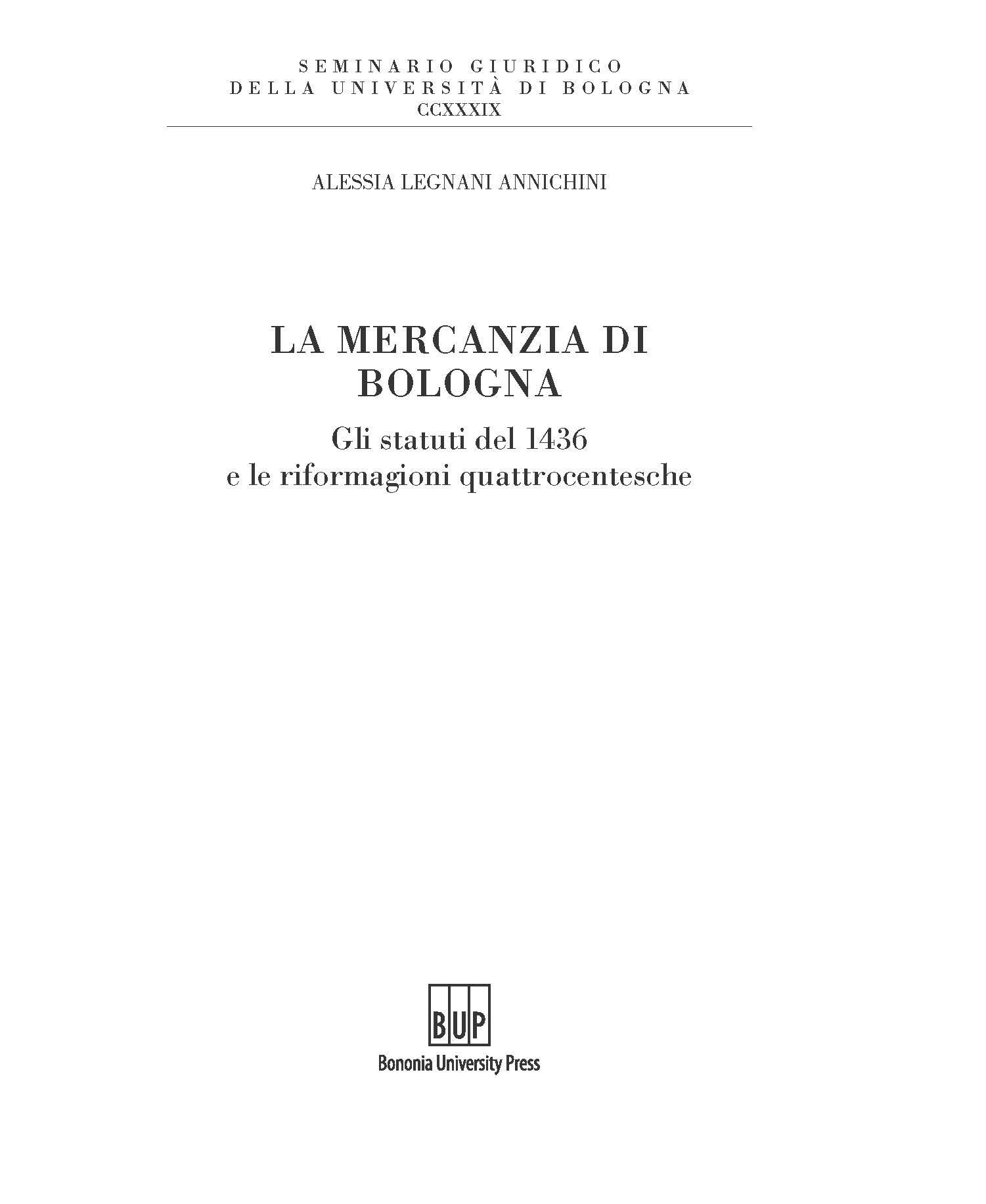 La mercanzia di Bologna - Bononia University Press