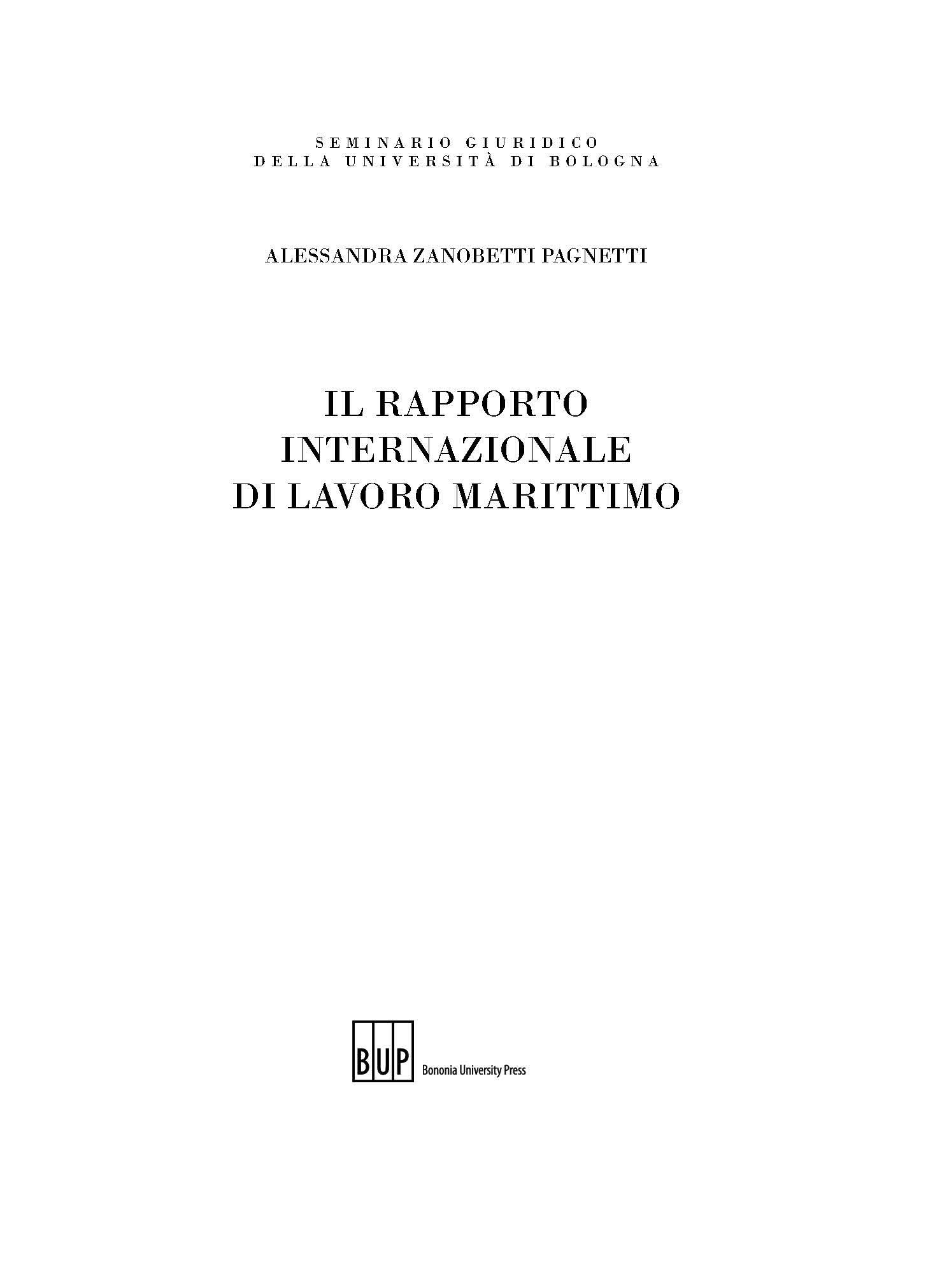 Rapporto internazionale di lavoro marittimo - Bononia University Press