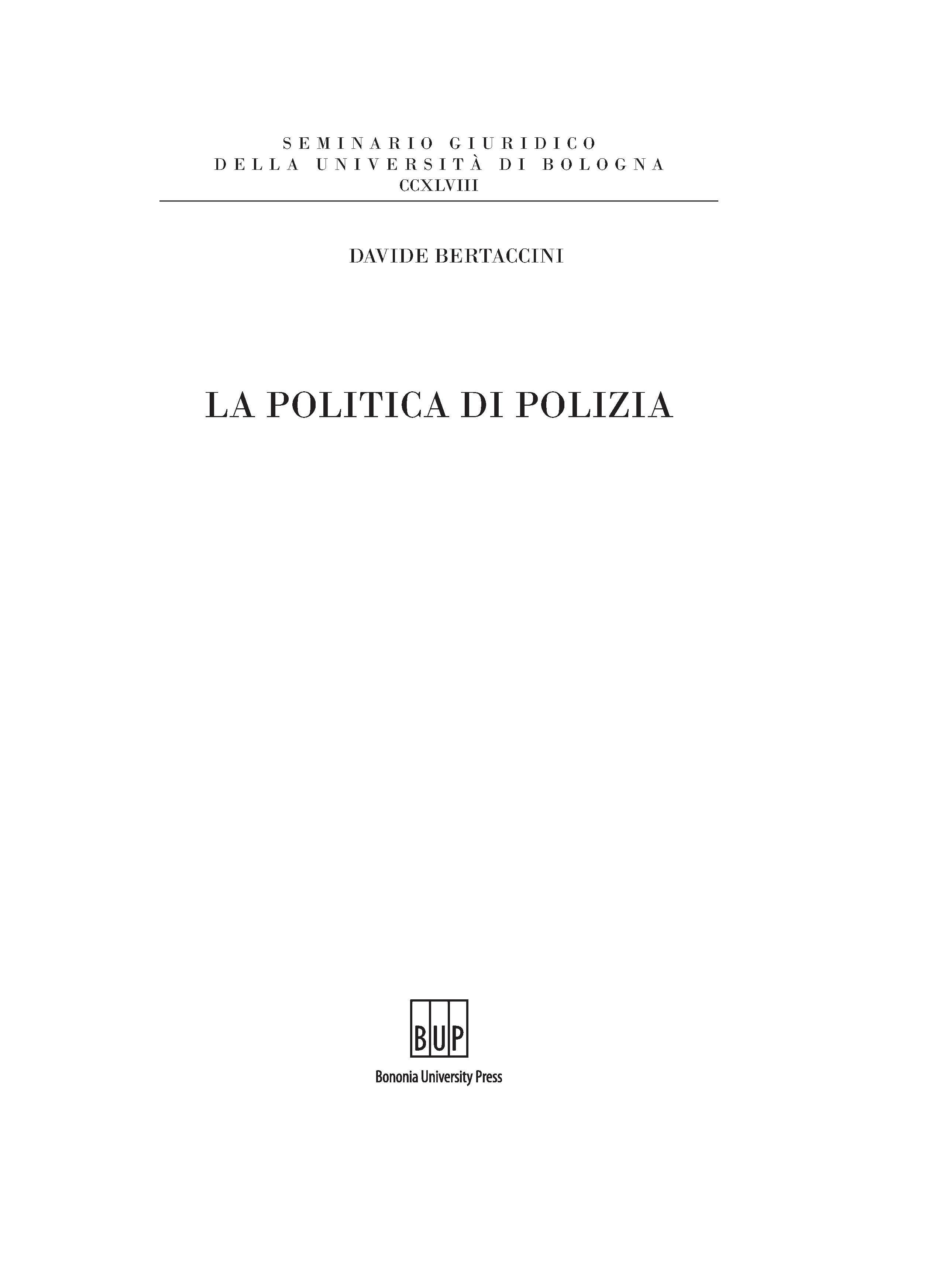 La politica di polizia - Bononia University Press