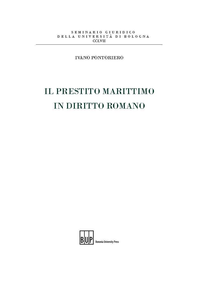 Il prestito marittimo in diritto romano - Bononia University Press